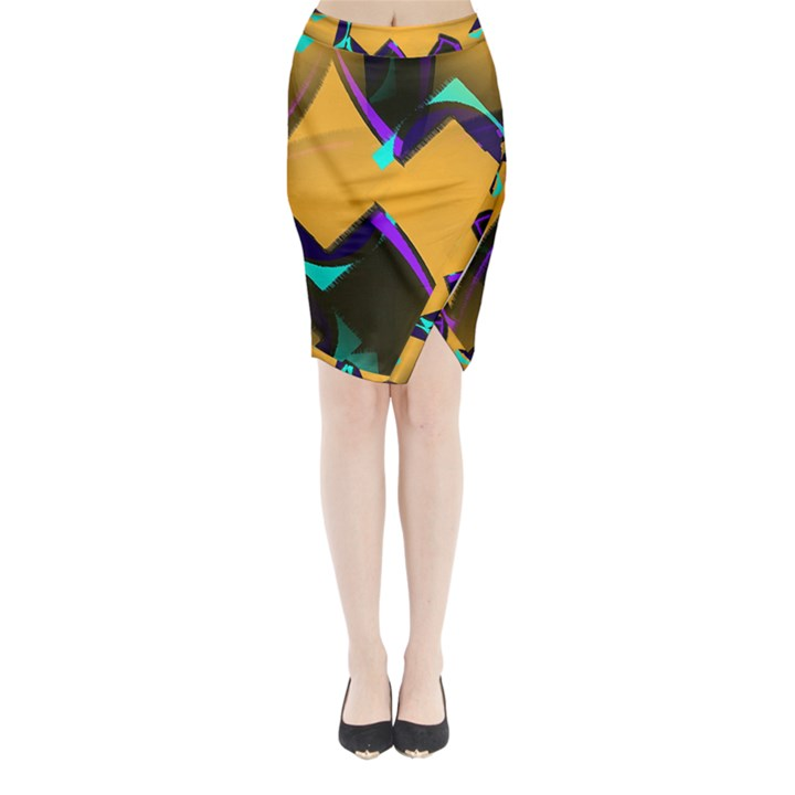 Geometric Gradient Psychedelic Midi Wrap Pencil Skirt