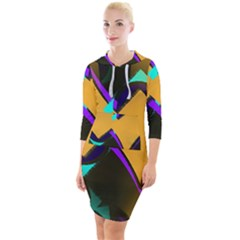 Geometric Gradient Psychedelic Quarter Sleeve Hood Bodycon Dress