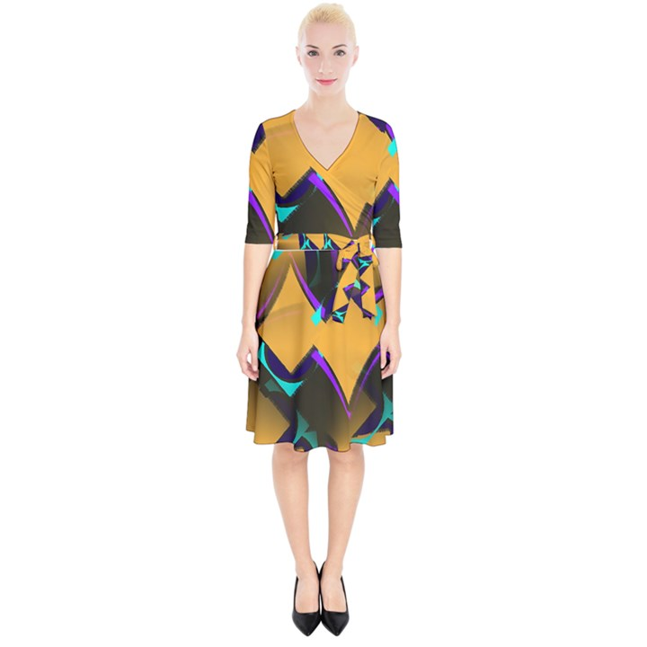 Geometric Gradient Psychedelic Wrap Up Cocktail Dress