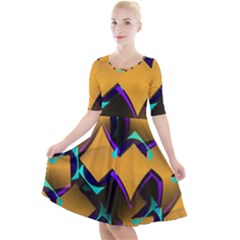 Geometric Gradient Psychedelic Quarter Sleeve A Line Dress