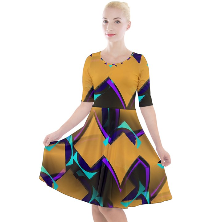 Geometric Gradient Psychedelic Quarter Sleeve A-Line Dress