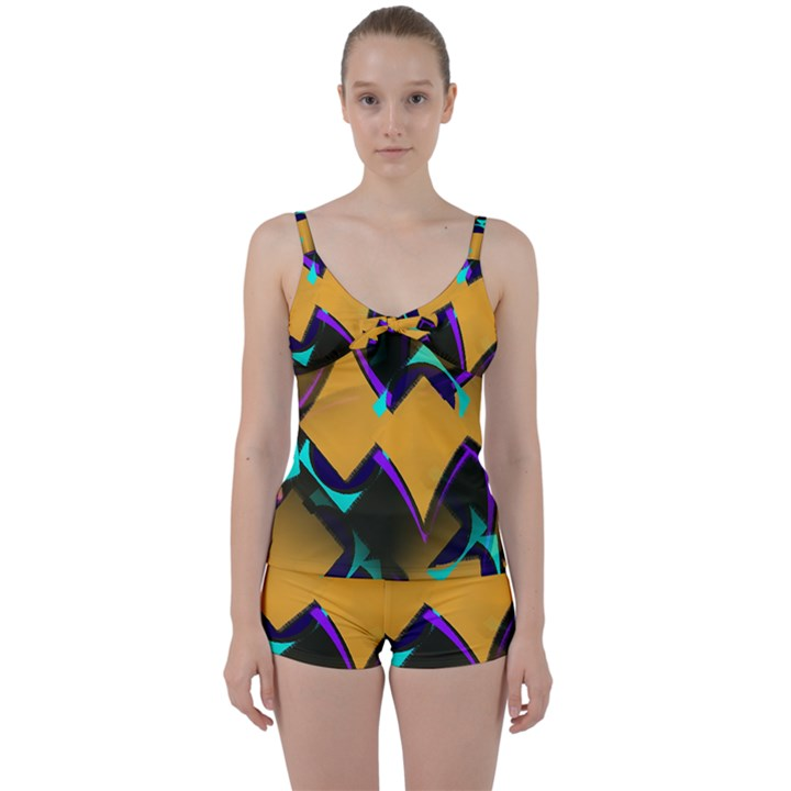 Geometric Gradient Psychedelic Tie Front Two Piece Tankini