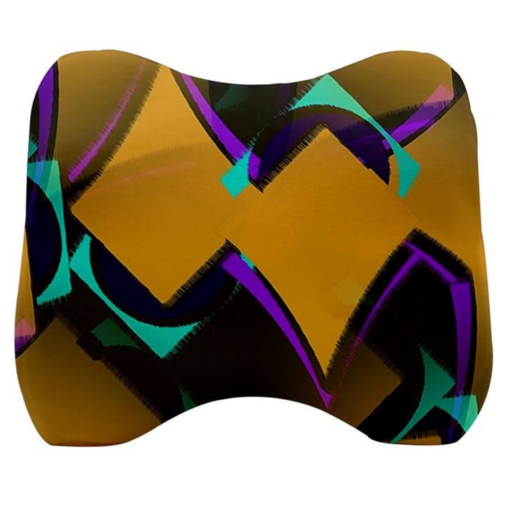 Geometric Gradient Psychedelic Velour Head Support Cushion