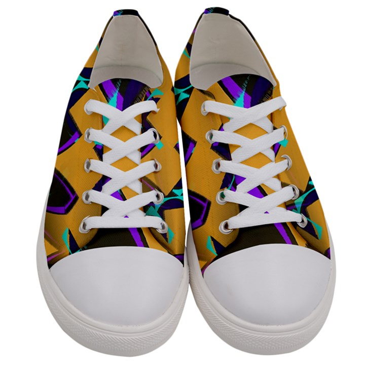 Geometric Gradient Psychedelic Women s Low Top Canvas Sneakers