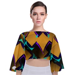 Geometric Gradient Psychedelic Tie Back Butterfly Sleeve Chiffon Top