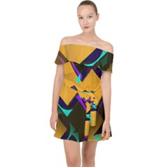 Geometric Gradient Psychedelic Off Shoulder Chiffon Dress