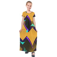 Geometric Gradient Psychedelic Kids  Short Sleeve Maxi Dress by HermanTelo