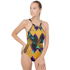 Geometric Gradient Psychedelic High Neck One Piece Swimsuit