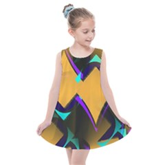 Geometric Gradient Psychedelic Kids  Summer Dress