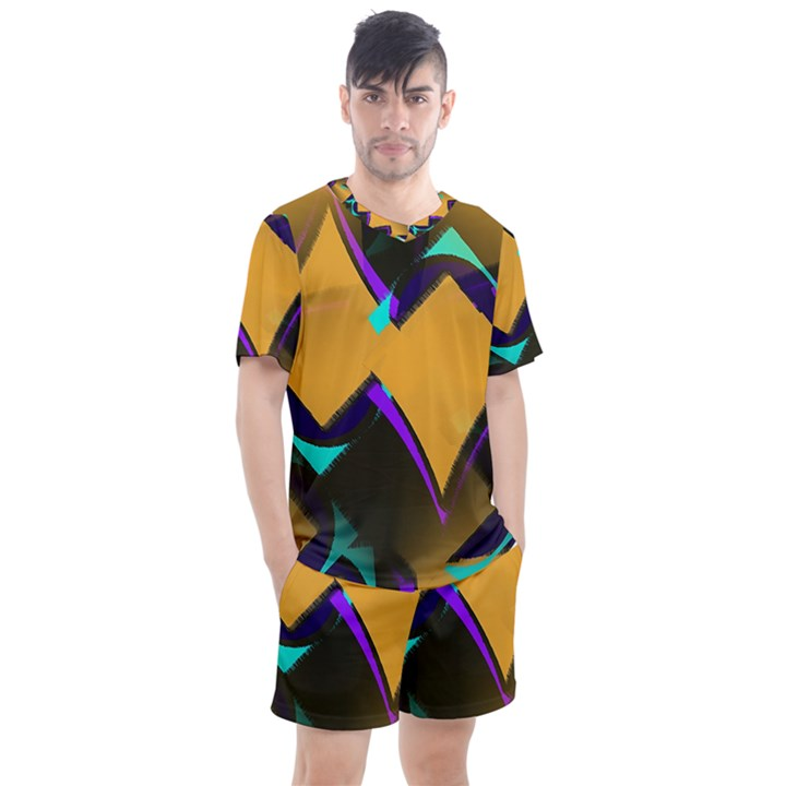 Geometric Gradient Psychedelic Men s Mesh Tee and Shorts Set