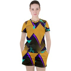 Geometric Gradient Psychedelic Women s Tee And Shorts Set