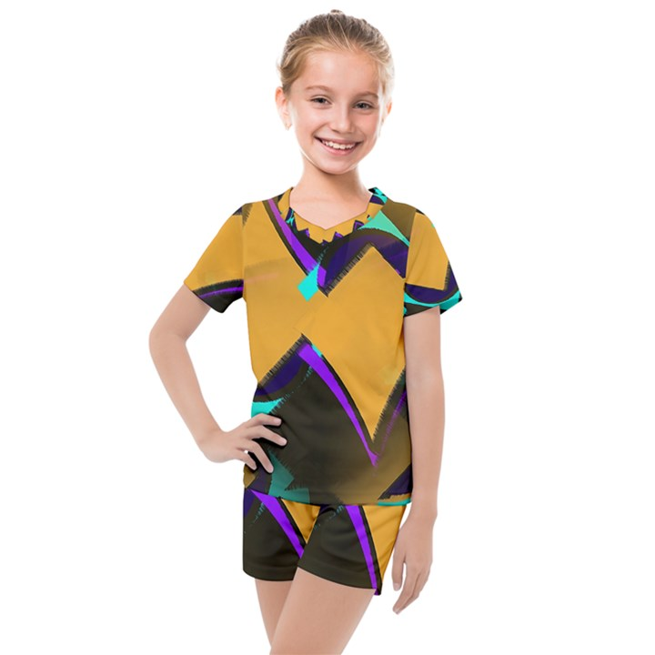 Geometric Gradient Psychedelic Kids  Mesh Tee and Shorts Set