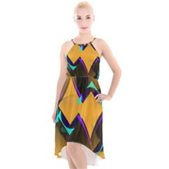 Geometric Gradient Psychedelic High Low Halter Chiffon Dress