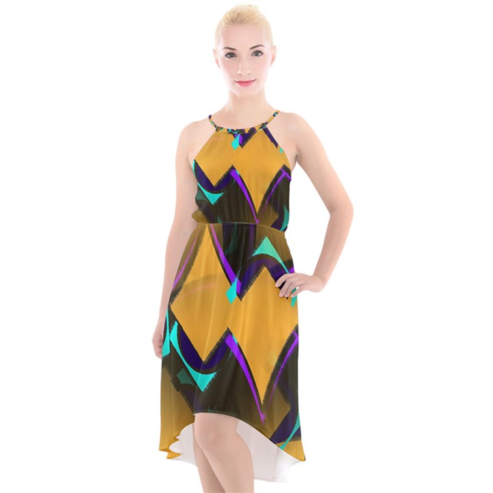 Geometric Gradient Psychedelic High-Low Halter Chiffon Dress