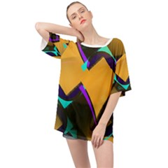 Geometric Gradient Psychedelic Oversized Chiffon Top
