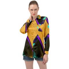 Geometric Gradient Psychedelic Long Sleeve Satin Shirt