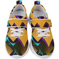 Geometric Gradient Psychedelic Kids  Velcro Strap Shoes