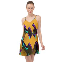 Geometric Gradient Psychedelic Summer Time Chiffon Dress