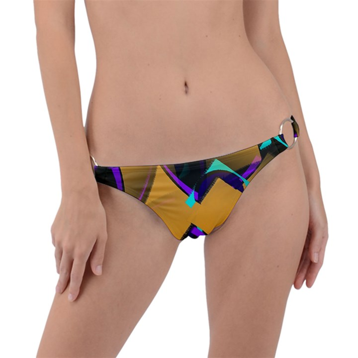 Geometric Gradient Psychedelic Ring Detail Bikini Bottom
