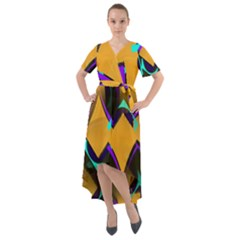 Geometric Gradient Psychedelic Front Wrap High Low Dress