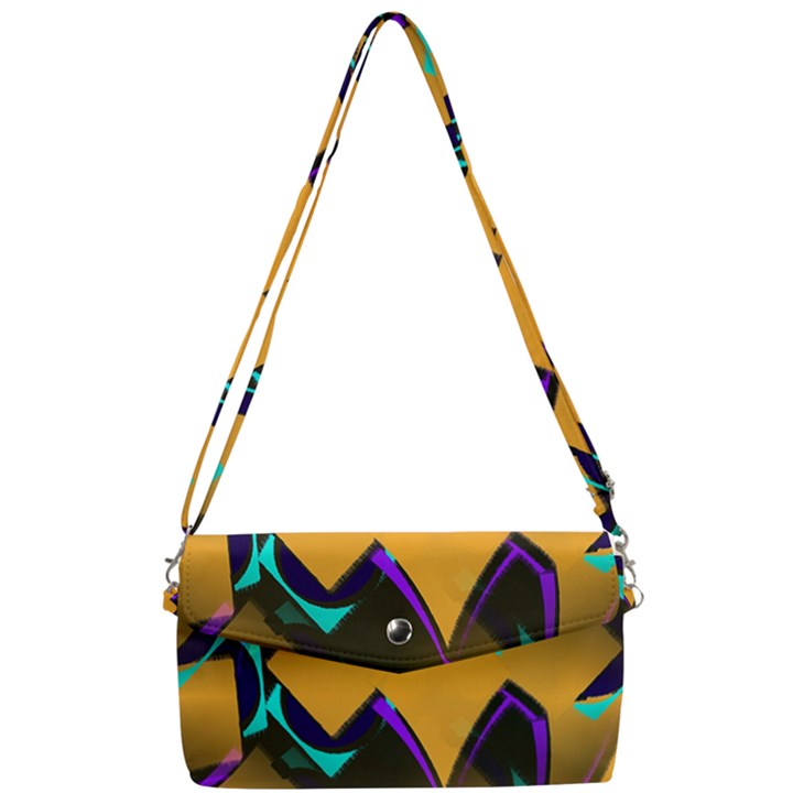 Geometric Gradient Psychedelic Removable Strap Clutch Bag