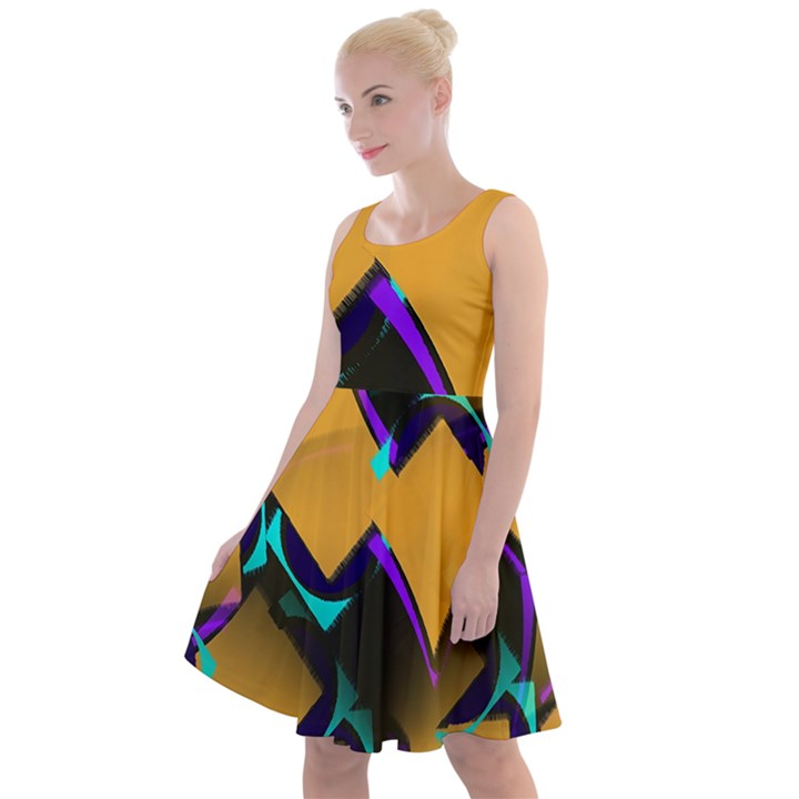 Geometric Gradient Psychedelic Knee Length Skater Dress