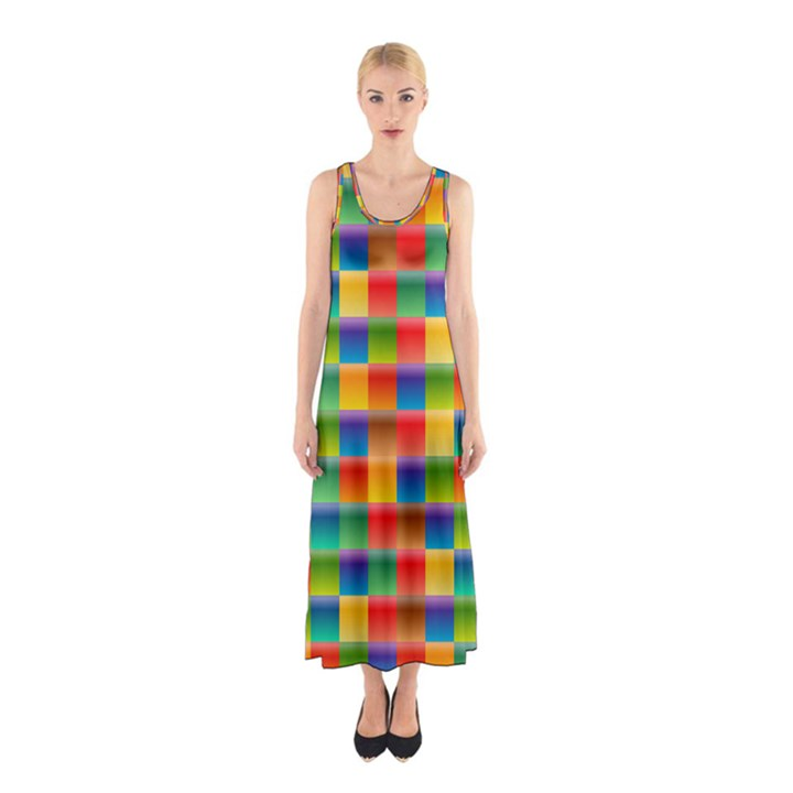 Background Colorful Abstract Sleeveless Maxi Dress