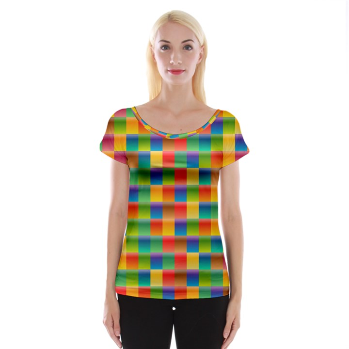 Background Colorful Abstract Cap Sleeve Top