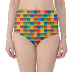 Background Colorful Abstract Classic High-waist Bikini Bottoms
