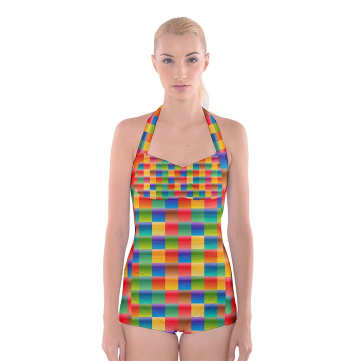 Background Colorful Abstract Boyleg Halter Swimsuit
