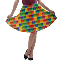 Background Colorful Abstract A-line Skater Skirt