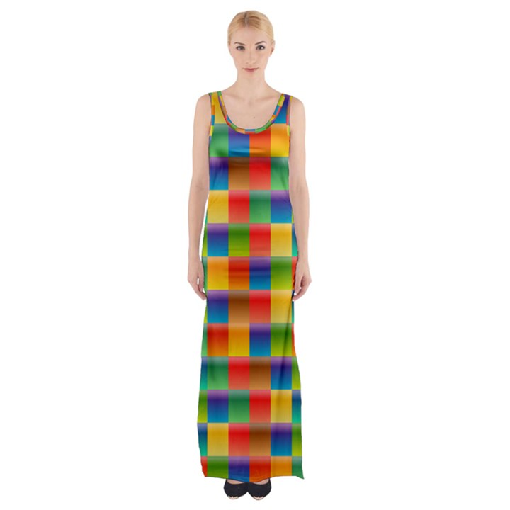 Background Colorful Abstract Thigh Split Maxi Dress