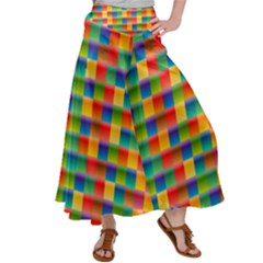 Background Colorful Abstract Satin Palazzo Pants