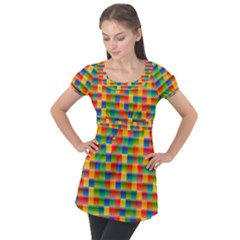 Background Colorful Abstract Puff Sleeve Tunic Top
