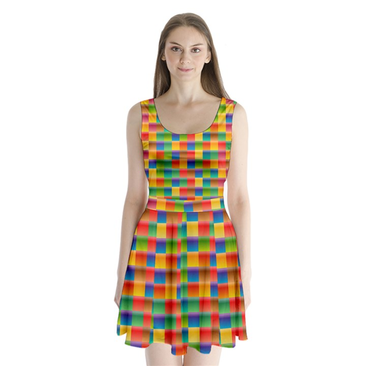 Background Colorful Abstract Split Back Mini Dress