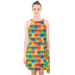 Background Colorful Abstract Halter Collar Waist Tie Chiffon Dress