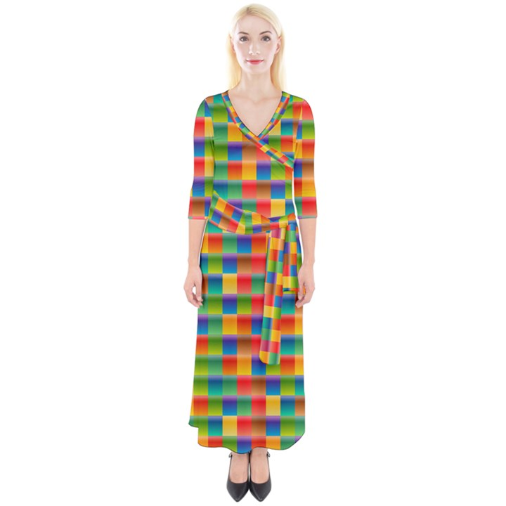 Background Colorful Abstract Quarter Sleeve Wrap Maxi Dress
