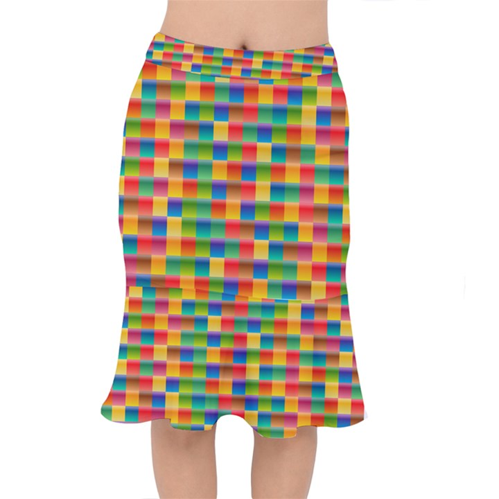 Background Colorful Abstract Short Mermaid Skirt