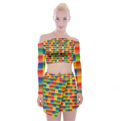 Background Colorful Abstract Off Shoulder Top With Mini Skirt Set by HermanTelo