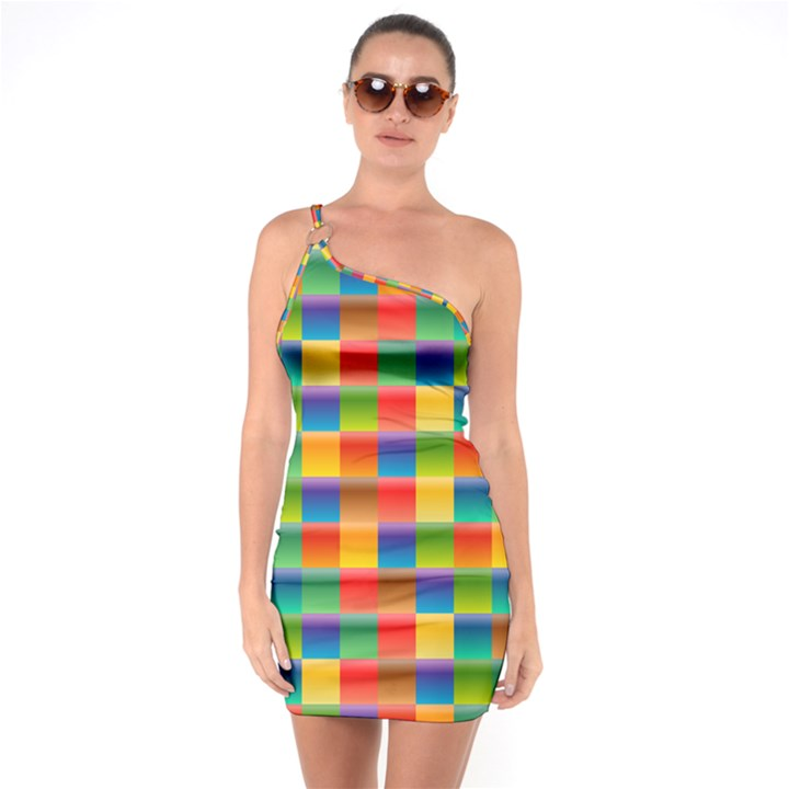 Background Colorful Abstract One Soulder Bodycon Dress