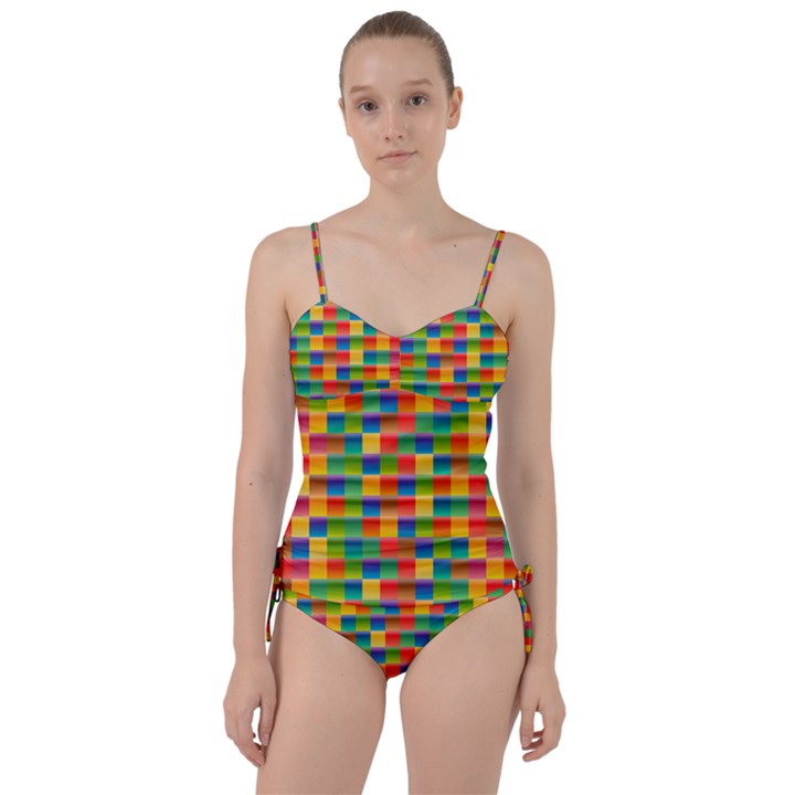 Background Colorful Abstract Sweetheart Tankini Set