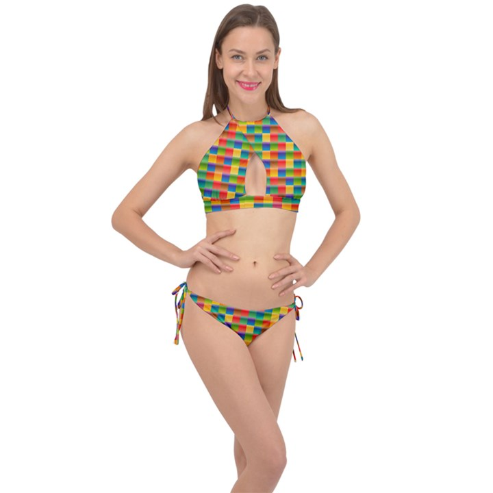 Background Colorful Abstract Cross Front Halter Bikini Set