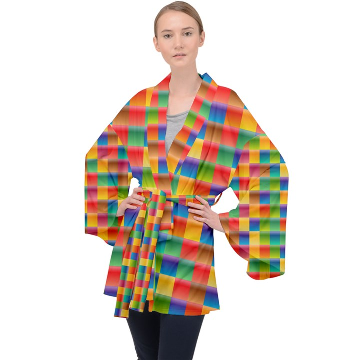 Background Colorful Abstract Long Sleeve Velvet Kimono