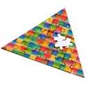 Background Colorful Abstract Wooden Puzzle Triangle View2