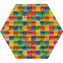 Background Colorful Abstract Wooden Puzzle Hexagon View1