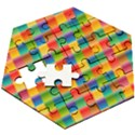 Background Colorful Abstract Wooden Puzzle Hexagon View3