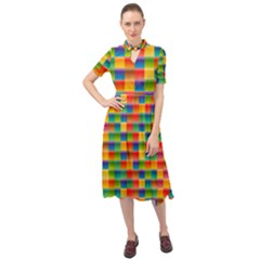 Background Colorful Abstract Keyhole Neckline Chiffon Dress by HermanTelo