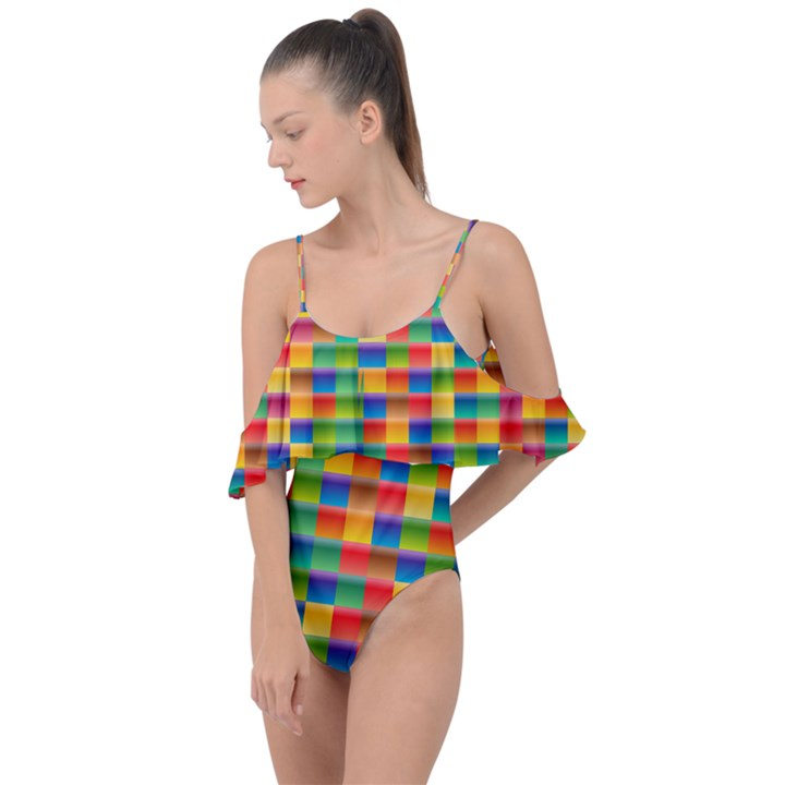 Background Colorful Abstract Drape Piece Swimsuit