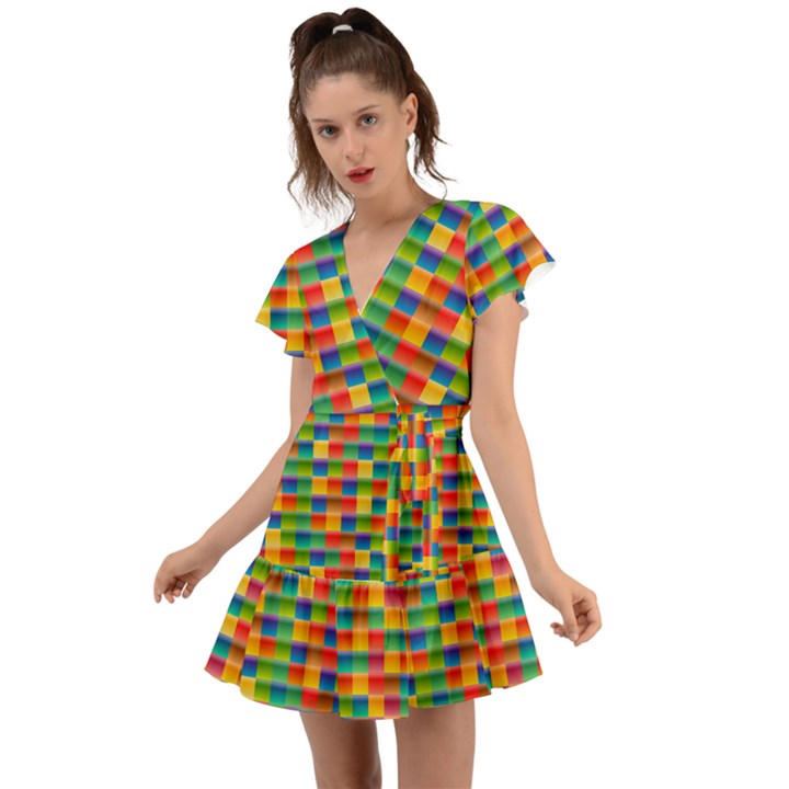 Background Colorful Abstract Flutter Sleeve Wrap Dress