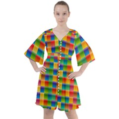 Background Colorful Abstract Boho Button Up Dress